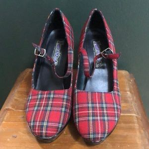 Funtasma Red Plaid Platform Mary Jane Shoes Size 7